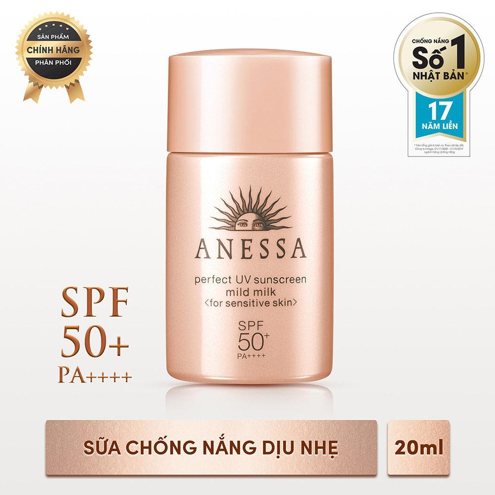 Sữa chống nắng dịu nhẹ cho da nhạy cảm Anessa Perfect UV Sunscreen Mild Milk - SPF50+, PA++++ - 20ml