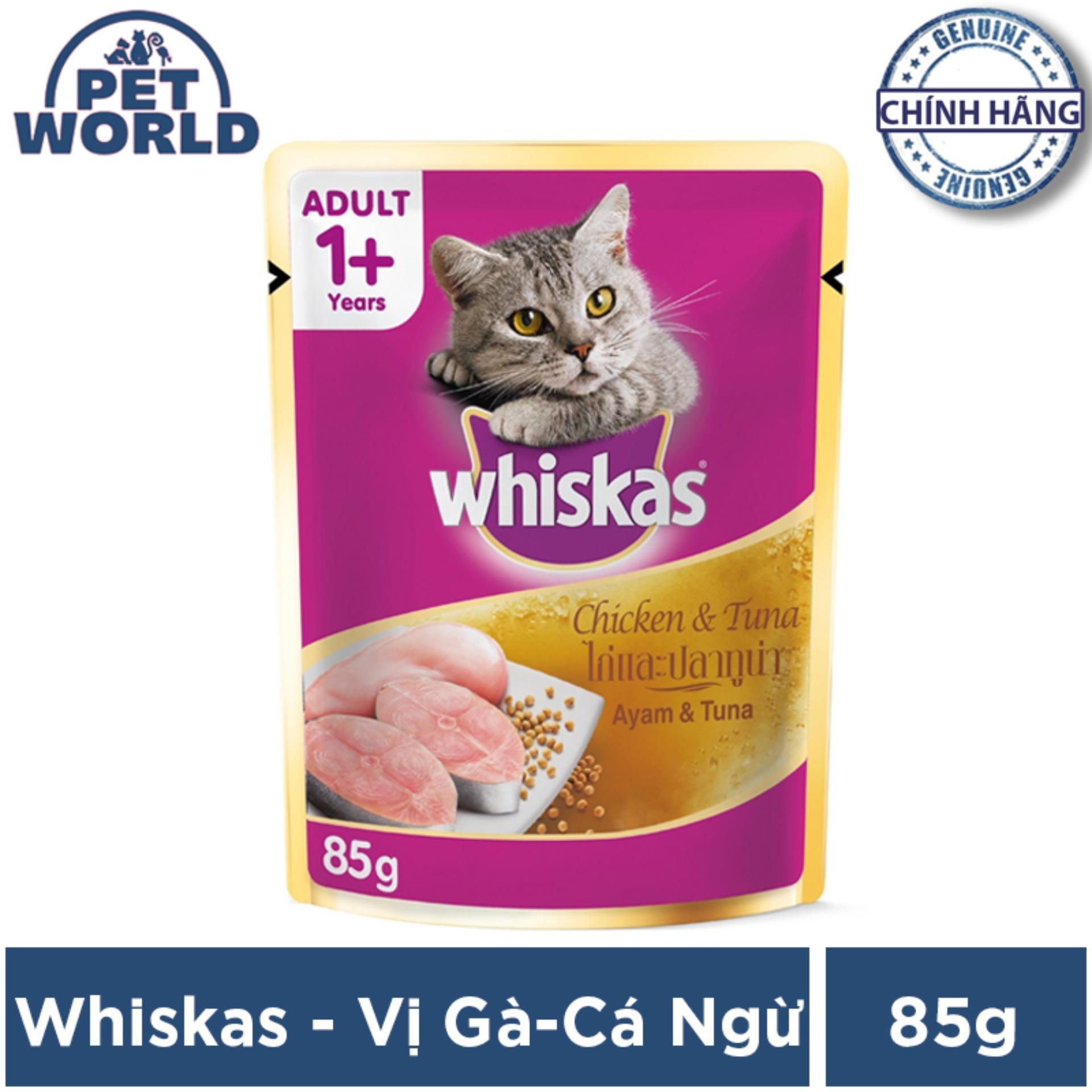 Thức ăn Cho Mèo Whiskas Vị Gà Và Cá Ngừ Túi 85g Đang Hạ Giá tại Lazada