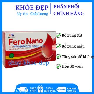 (CHÍNH HÃNG) - Viên uống bổ máu Fero Nano bổ sung Sắt, Acid Folic giảm tình trạng thiếu máu - Hộp 30 viên - HSD 2023 thumbnail