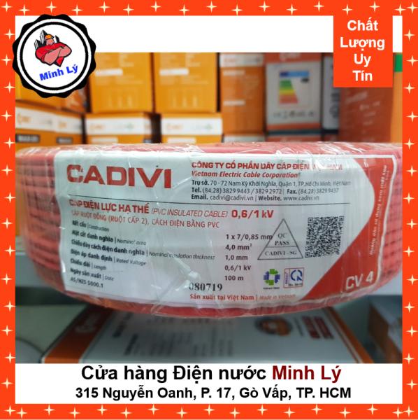 Bảng giá Dây Điện CADIVI CV4 1X4 mm2 Đơn Mềm Cao Cấp (100m/cuộn)