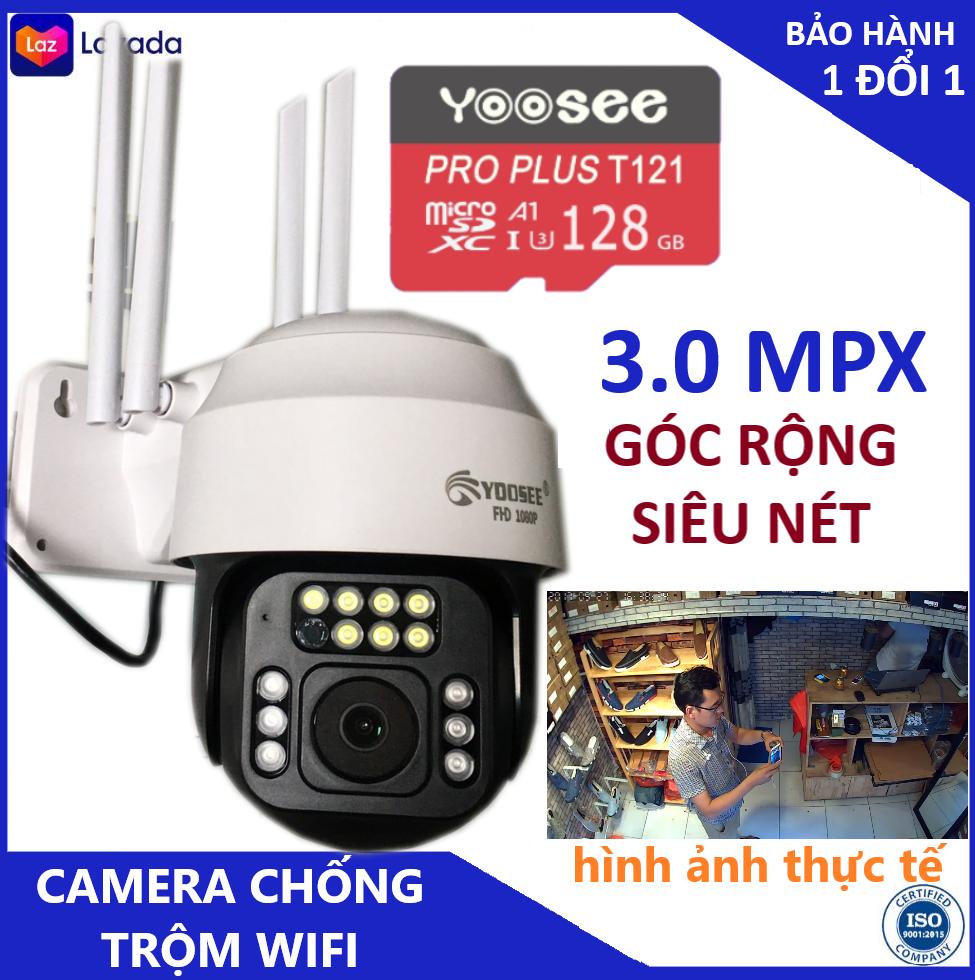 Camera - Camera wifi - Camera yoosee ngoài trời PTZ 3X bản độc quyền kèm thẻ 128G - FULL HD 3.0MPX - Mắt Nhện, chống nước , Cảm biến hình ảnh, xoay 360 độ có tiếng việt - Bảo hành 3 năm 1 đổi 1 trong 7 ngày