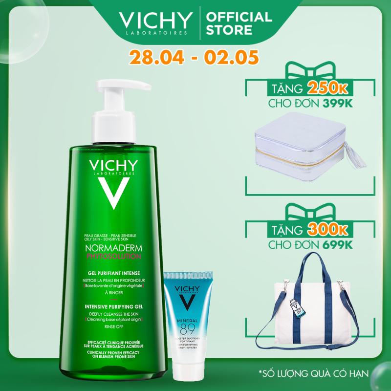 Bộ sản phẩm Gel Rửa Mặt  làm sạch sâu, giảm bã nhờn và se khít lỗ chân lông Vichy Normaderm Phytosolution Intensive Purifying Gel