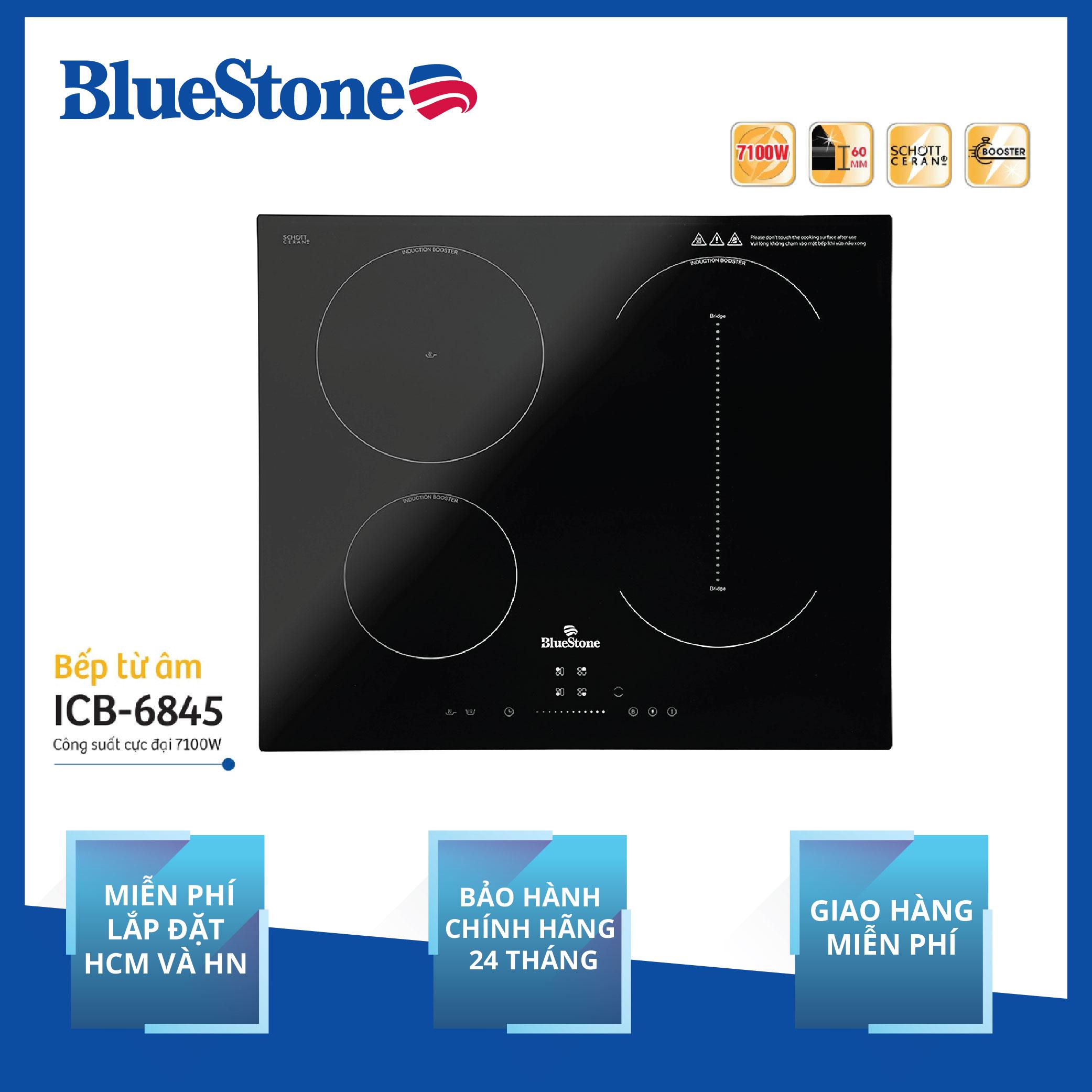 Miễn Phí Lắp đặt HCM HN - Bếp Âm Từ Đa Vùng Nấu BlueStone ICB-6845 (7100W) - Mặt Kính Schott Ceran Chịu Lực Nhiệt - 3 Vùng Nấu - 9 Mức điều Chỉnh -  Hàng Chính Hãng Duy Nhất Khuyến Mại Hôm Nay