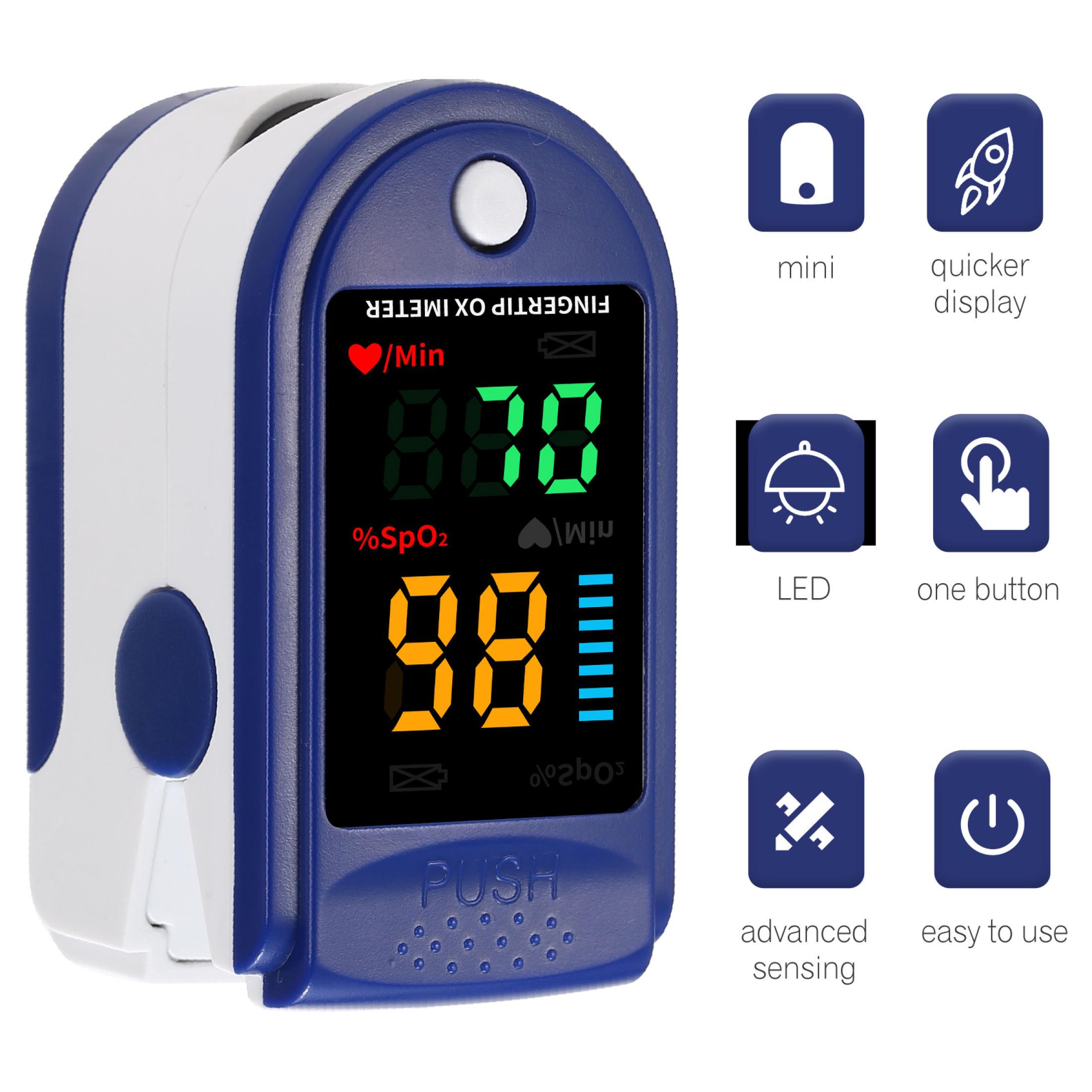 Máy đo SPO2, Máy đo nồng độ Oxy trong máu chính hãng, Máy Đo Nồng Độ Oxy Xung Spo2, Máy Theo Dõi Nhịp Tim, Độ Bão Hòa Oxy Trong Máu Với Màn Hình OLED, dây buộc Cho trẻ em và người lớn