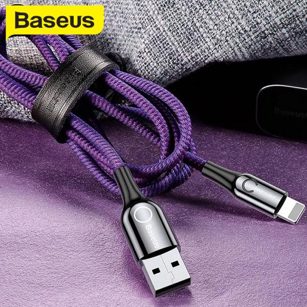 Cáp sạc tự ngắt Baseus C-Shape Lightning USB, sạc nhanh 2.4A, tự động ngắt khi đầy pin, hạn chế hỏng pin, dây bọc dù chống gập, dài 100cm