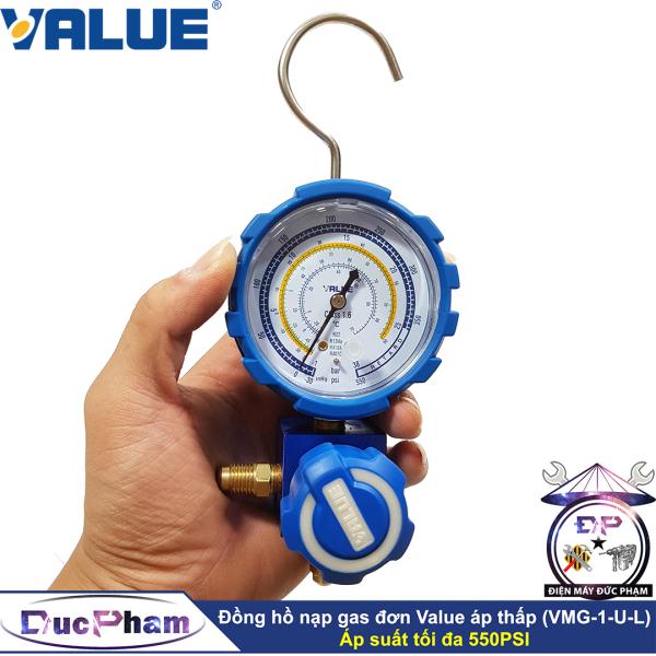 Đồng hồ nạp gas đơn áp thấp, hạ áp Value VMG-1-U-L ( Công Ty )