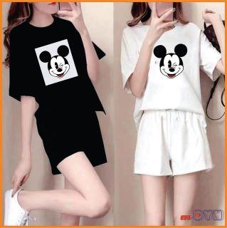 Set bộ cotton áo tay lỡ và quần đùi form rộng in chuột, vải co giãn thoải mái khi mặc và di chuyển, có size to 3XL DƯỚI 80kg SD302 thumbnail