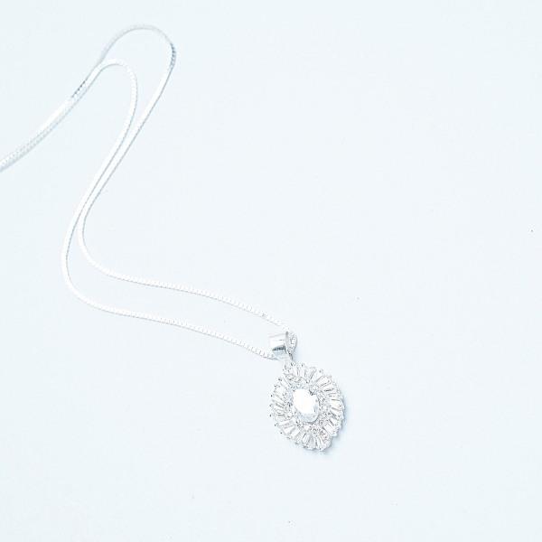 QMJ Dây chuyền bạc 925 cao cấp Mắt giác nạm đá kết hợp phay móc máy viền sáng lấp lánh thu hút ánh nhìn các cô gái vòng cổ thời trang nữ đẹp bạc chuẩn - Q145
