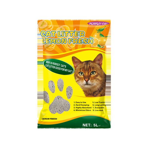 Cát Vệ Sinh Cho Mèo Hương Chanh - Perfect Cat 5 Lít ( Khử Mùi - Vón Cục Nhanh - Không Bụi )