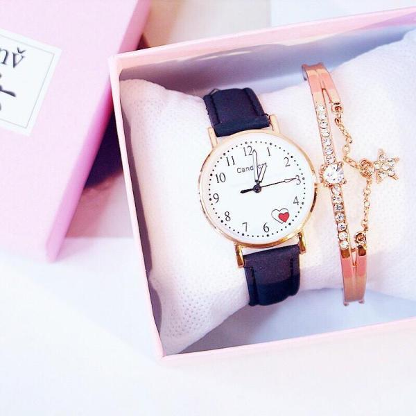 Đồng hồ thời trang nữ Candycat dây nhung mặt số trái tim siêu đẹp