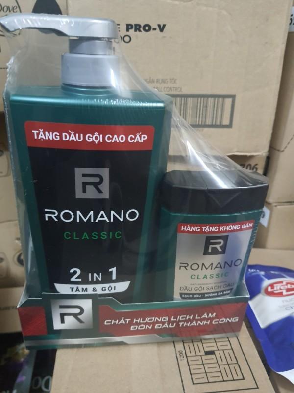 Tắm gội ROMANO 900g tặng dầu gôi 180g (như hình)