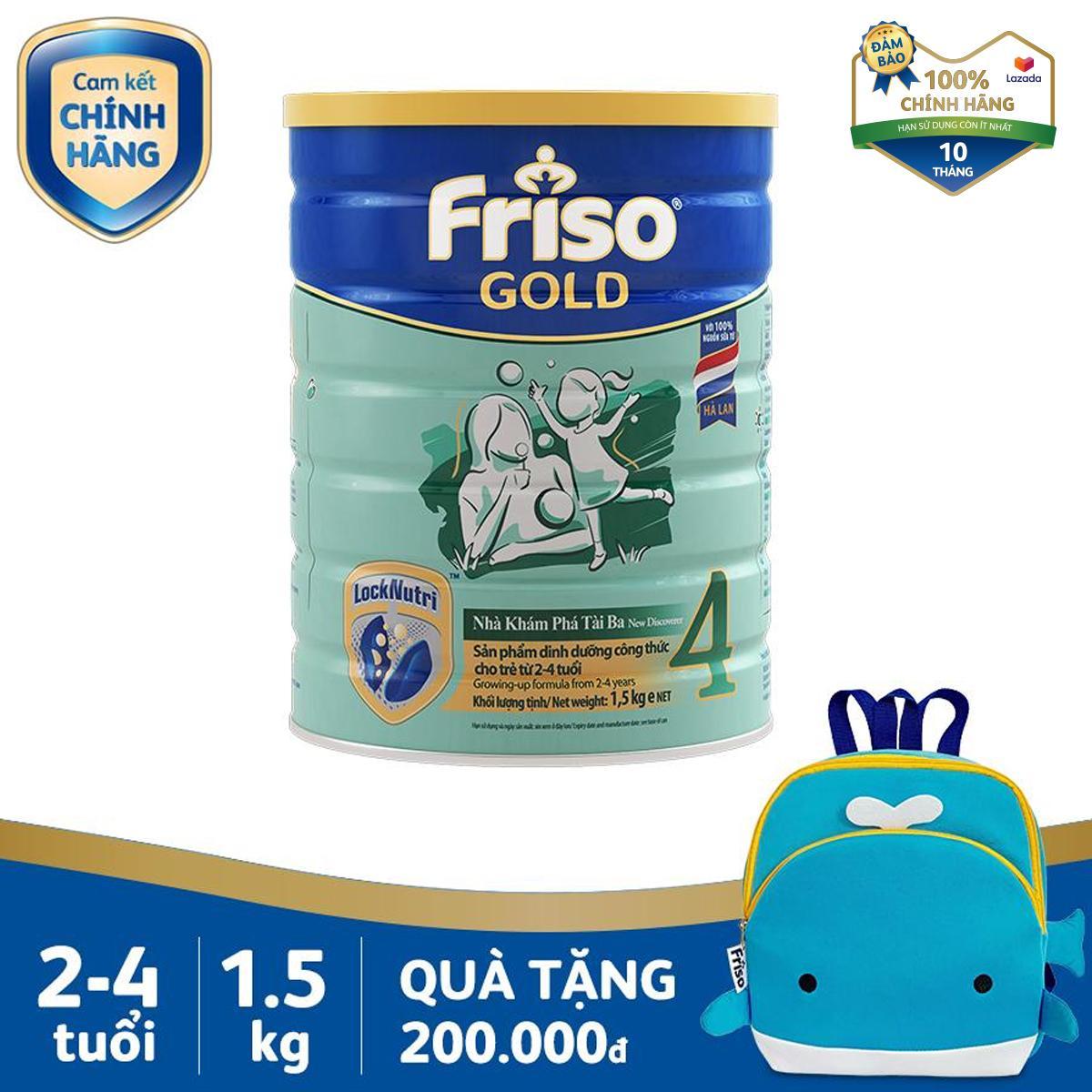 Mã Ưu Đãi Khi Mua Sữa Bột Friso Gold 4 1.5kg Cho Trẻ Từ 2-4 Tuổi + Tặng 1 Balo Cá Voi Xanh Trị Giá 200k - Cam Kết HSD ít Nhất 10 Tháng