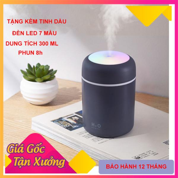 Máy xông tinh dầu, máy phun sương nano mini( tặng tinh dầu 10ml), máy khếch tán tinh dầu làm đèn ngủ, phun sương tạo ẩm không khí, đèn led 7 màu, sạc USB, dung tích 300 ml shop[Akycare]