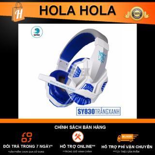 [HCM]Tai nghe game thủ chụp tai Soyto SY830 có Microphone có đèn LED (Trắng Xanh Dương) thumbnail