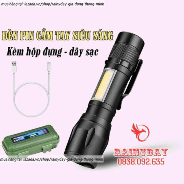 Bảng giá Đèn pin siêu sáng mini bin sạc điện usb bóng led xpe cob có zoom chống nước cầm tay chuyên dụng