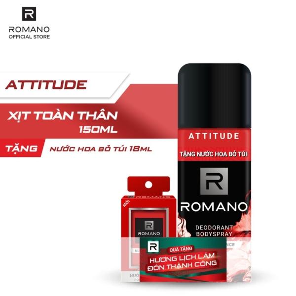[Follow shop nhận voucher 10k] Xịt toàn thân Romano lịch lãm nam tính 150ml - Tặng nước hoa bỏ túi Romano 18ml