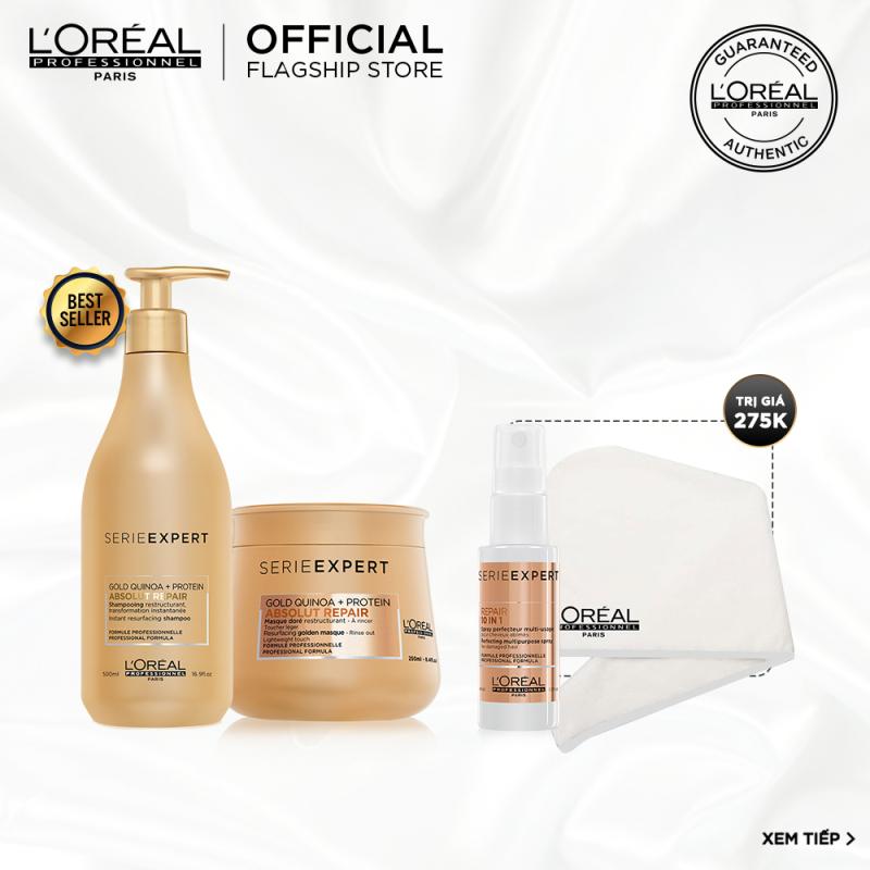 [Tặng Voucher 100k] Bộ gội và hấp nhũ vàng phục hồi tóc hư tổn toàn diện Absolut Gold Repair LOréal Professionel
