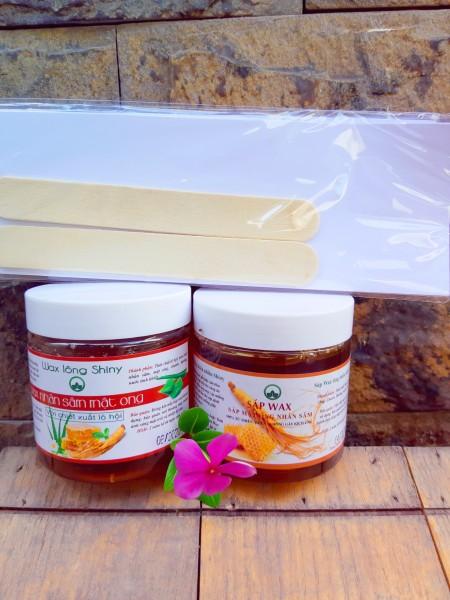 Wax lạnh mật ong nhân sâm lô hội SHINY handmade tặng kèm dụng cụ wax, Tẩy sạch mọi vùng lông