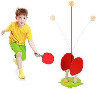 Bộ đồ chơi bóng bàn cho bé ( gồm 3 banh, 4 chân hít, 1 đế, 2 vợt cán gỗ ) - dụng cụ tập đánh bóng bàn thumbnail