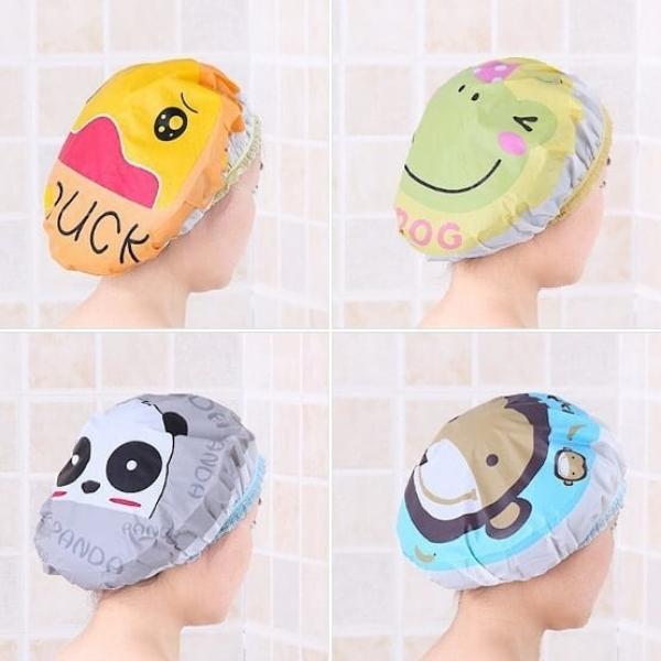 Combo 2 cái Mũ tắm chùm đầu kute dành cho nữ dùng khi tắm gội, ủ tóc, trang điểm, rửa mặt cao cấp