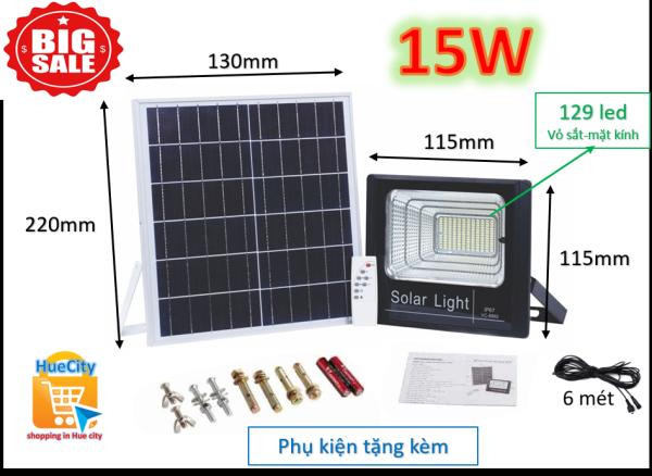Đèn led năng lượng mặt trời 15W (loại tấm pin có khung kim loại mặt kính và loại tấm pin PVC)