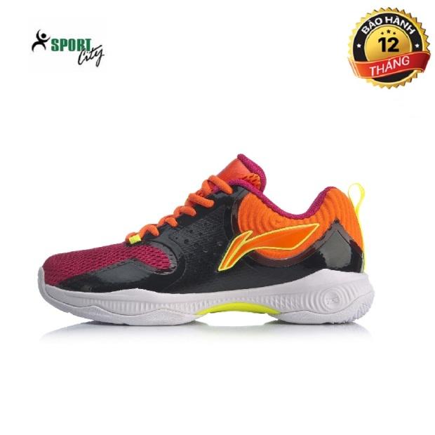Giày cầu lông nữ Li-Ning AYTQ012-1 mẫu mới, thoáng khí, phom giày ôm chân, màu đen phối tim , đủ size - Giày cầu lông nữ - Giầy bóng chuyền - sportcity giá rẻ