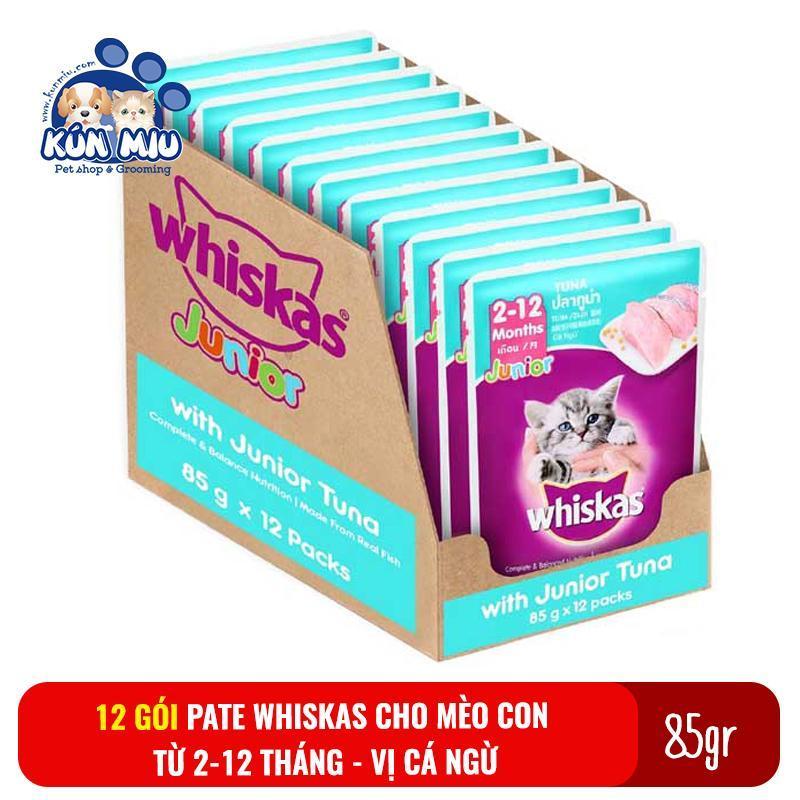 Combo 12 gói Thức ăn Pate Whiskas cho mèo con 2-12 tháng 85gr Vị Cá ngừ - Thức ăn cho mèo con Pate whiskas Junior