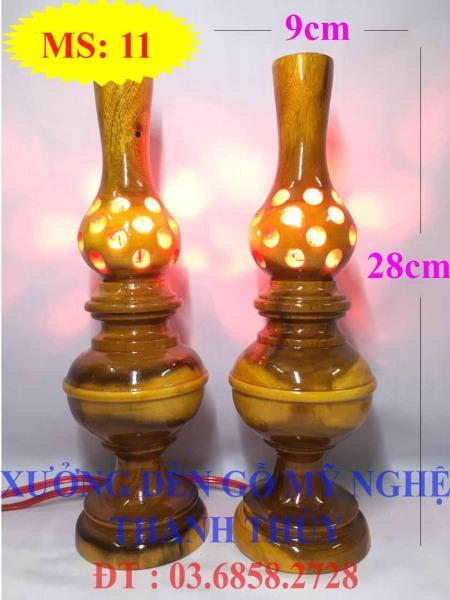 Đèn tổ ong bàn thờ điện - Mẫu lớn - Gỗ tràm MS: 11