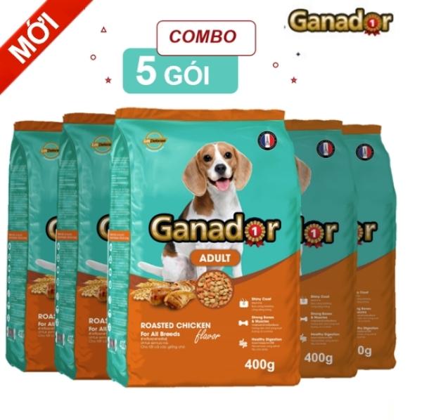 [Mới]Combo 5 gói thức ăn cho chó trưởng thành Ganador vị thịt gà Adult Roasted Chicken Flavor 400gram