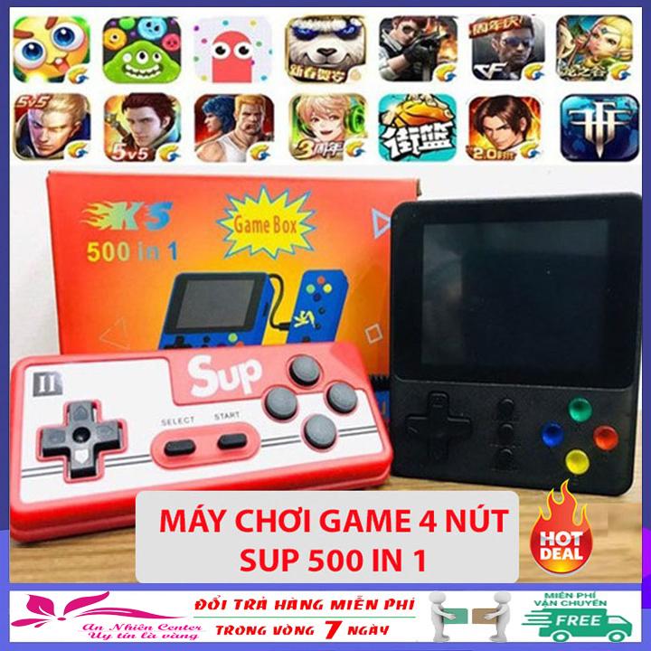 Máy chơi game cầm tay mini 4 nút Sup 500 in 1 phiên bản mới nhất năm 2020 - Tặng tay cầm chơi game hỗ trợ 2 người chơi - Máy chơi game 4 nút bản nâng cấp Sup 400 in 1 trò chơi: Mario, Contra, Tank, Natra, Ps2, Nintendo, Switch,...