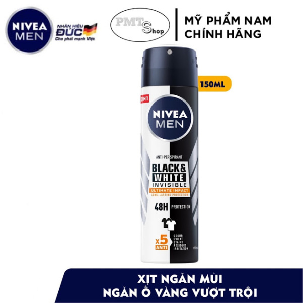 Xịt ngăn mùi nam Nivea men Invisible 5in1 For Black & White ngăn ố áo 150ml