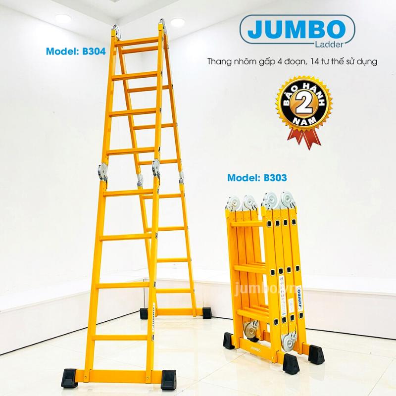 Thang nhôm gấp xếp 4 đoạn đa năng JUMBO B303-1.7m , B304-4.7m. 14 tư thế sử dụng, Nhôm dày cao cấp