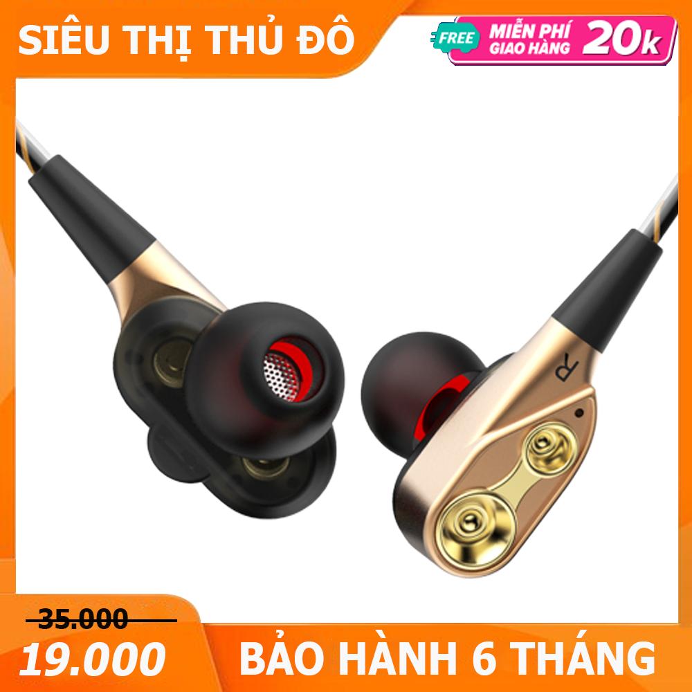Tai nghe có dây HiFi lõi kép chất lượng âm thanh sống động, trung thực tương thích tất cả điện thoại sử dụng jack tai nghe 3.5 / 4 khấc