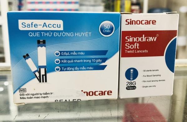 Bộ 50 Que thử đường huyết + 50 kim lấy máu+  Safe Accu- Sinocare bán chạy