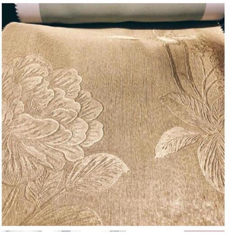 Rèm vải trang trí (có sẵn khoen) - hoa văn dày màu vàng kem