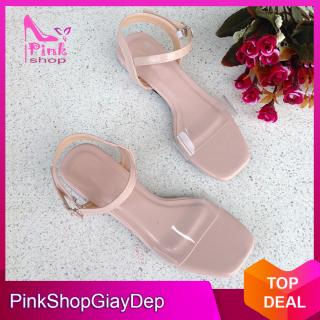 (Có mã miễn ship) Giày nữ, giày sandal PinkShopGiay gót trong kiểu dáng độc đáo phối quai trong màu hồng nhạt trẻ trung xinh xắn thumbnail