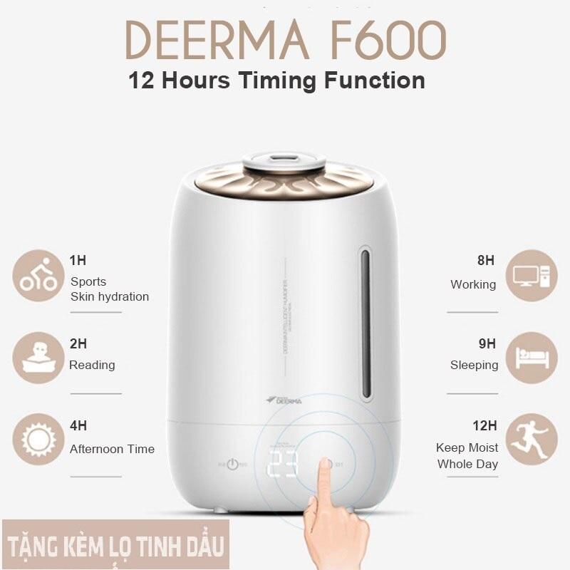 Bảng giá Máy tạo ẩm không khí siêu âm & khuêch tán tinh dầu cao cấp - Deerma F600 (Tặng 1 lọ tinh sả chanh 10ml)
