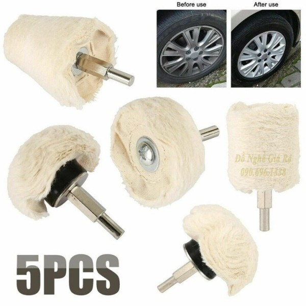 Bộ 5 đầu phớt lông cừu đánh bóng xe - Vải đánh bóng ô tô xe máy inox gắn cho máy khoan