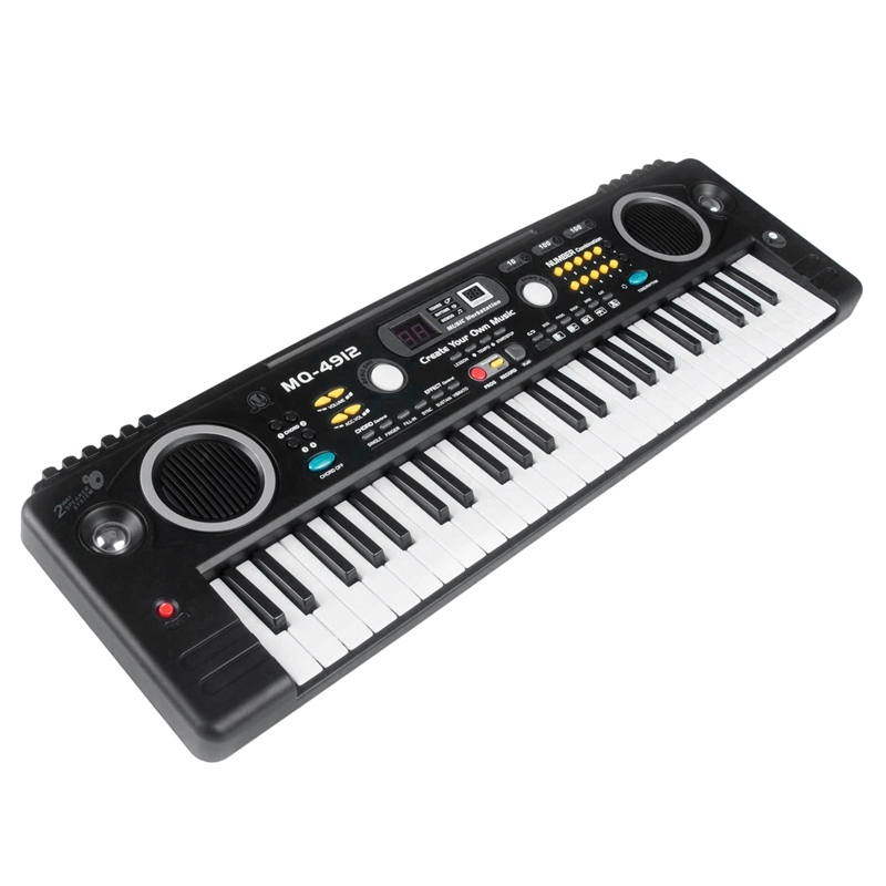 MQ Mq-4912 49 Key Music Digital Electronic Keyboard Piano with Microphone- Portable for Kids & Beginners,Us Plug