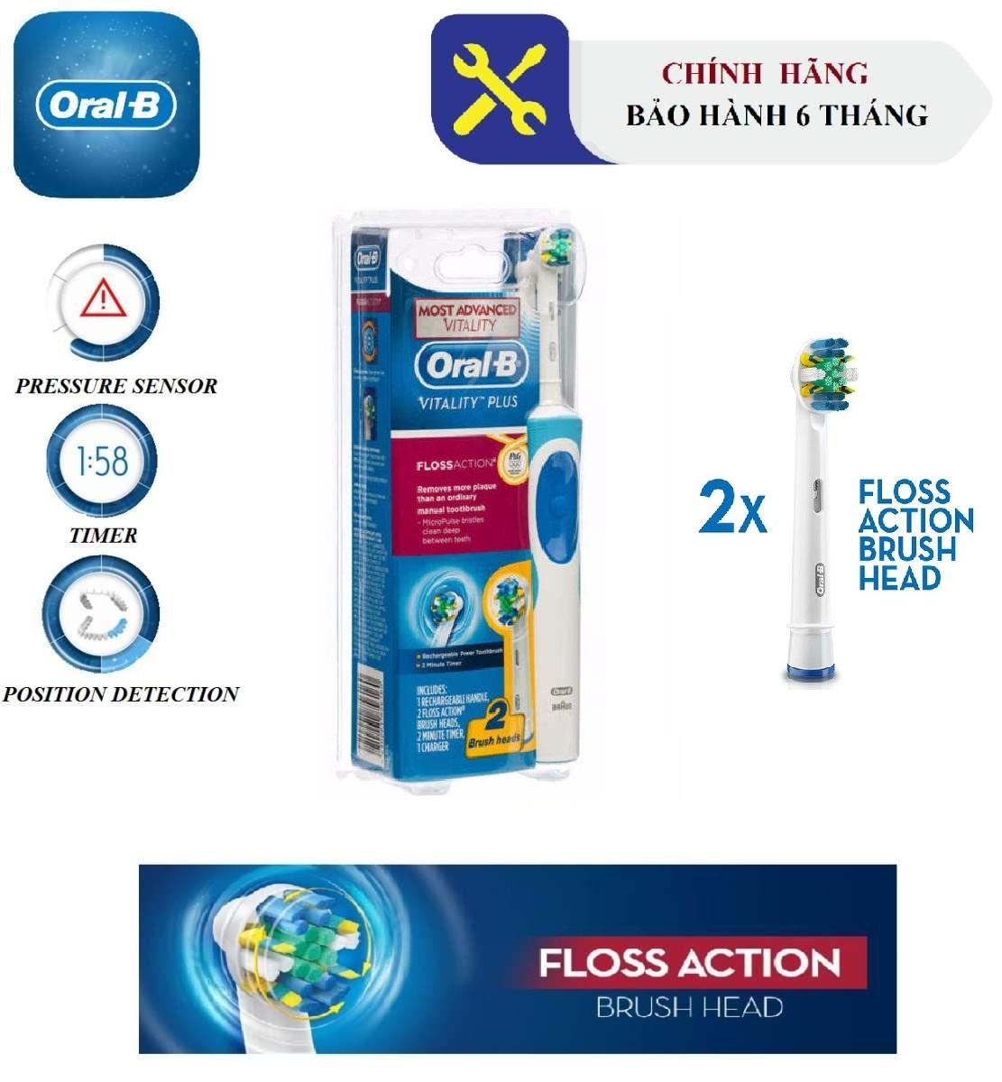 Bàn chải đánh răng điện Oral-B Vitality Plus FlossAction - Trọn bộ (1 Đế sạc, Thân bàn chải, 2 Đầu thay thế FlossAction) - Bảo hành 6 tháng