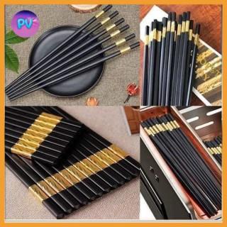 Bộ 10 Đôi Đũa Khảm Vàng Phong Cách Nhật Bản-Bộ Đũa Cao Cấp-Bộ 10 đôi đũa nhựa nhật bản hàn quốc dùng ăn cơm cao cấp khảm vàng chịu nhiệt chống trơn thumbnail