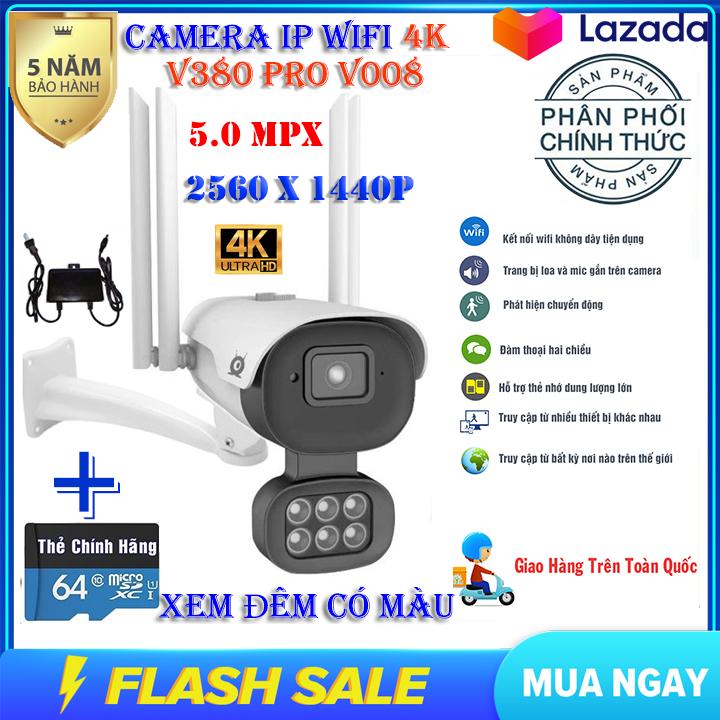 (KÈM THẺ NHỚ 64 GB CHUYÊN DỤNG TRỊ GIÁ 350K)Camera ip wifi V380 pro V008 chuẩn 5.0 Mpx,Chống nước, XEM ĐÊM CÓ MÀU,Góc rộng,2560x1440p,camera trong nhà, ngoài trời sử dụng app V380PRO