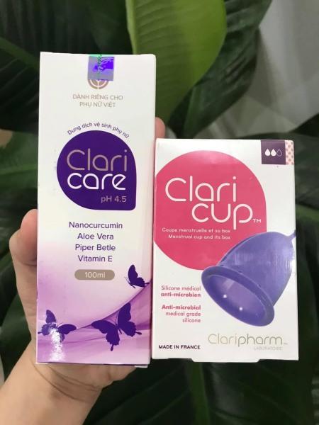 Cốc nguyệt san kháng khuẩn Claricup size 2 dành cho phụ nữ sinh thường + tặng gel vệ sinh cốc chuyên dụng Claricare 100ml giá rẻ