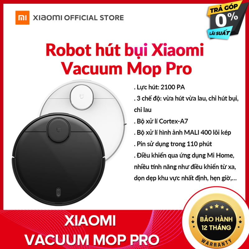 Robot hút bụi lau nhà thông minh Xiaomi Mi Vacuum Mop P - Cảm biến Laser LDS, Điều khiển bằng ứng dụng, công nghệ AI, Hỗ trợ Google Assistant - Bảo hành Chính Hãng 12 tháng