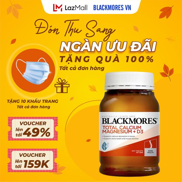 Blackmores Total Calcium & Magnesium + D3 200v - Viên uống bổ sung Canxi hỗ trợ xương khớp Blackmore Úc cao cấp