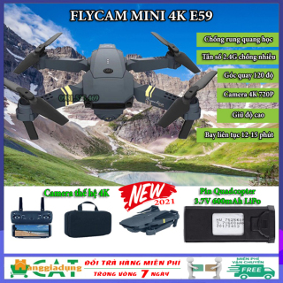 Máy bay điều khiển, Flycam mini 4K E59, Flycam giá rẻ điều khiển từ xa, camera 720P chống rung quang học, Pin Quadacopter 3.7V 600mAh LiPo, tần số 2.4Ghz chống nhiễu, tích hợp giữ độ cao giá rẻ hơn Flycam mavic, flycam f11 pro thumbnail