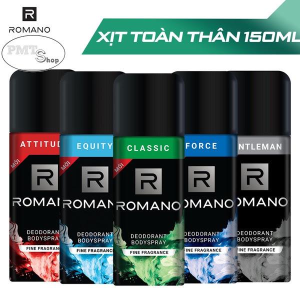 1 chai Xịt khử mùi toàn thân nam Romano hương nước hoa 150ml Classic | Attitude | Force | Gentleman | Equity