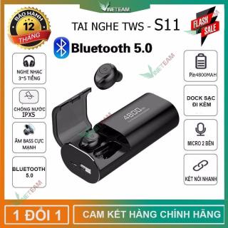 Tai nghe bluetooth TWS -S11 Cảm ứng không dây công nghệ bluetooth 5.0 đàm thoại 2 bên kén sạc 4800mAh kiêm sạc dự phòng, chống thấm nước, chống bụi dùng cho mọi điện thoại Công Nghệ Lọc Tiếng Ồn CVC 8.0 thumbnail