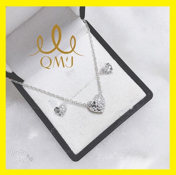 Bộ bạc nữ QMJ  Tim love sang chảnh, sáng tạo độc đáo bạc 925 cao cấp[CHUẨN BẠC] QB017
