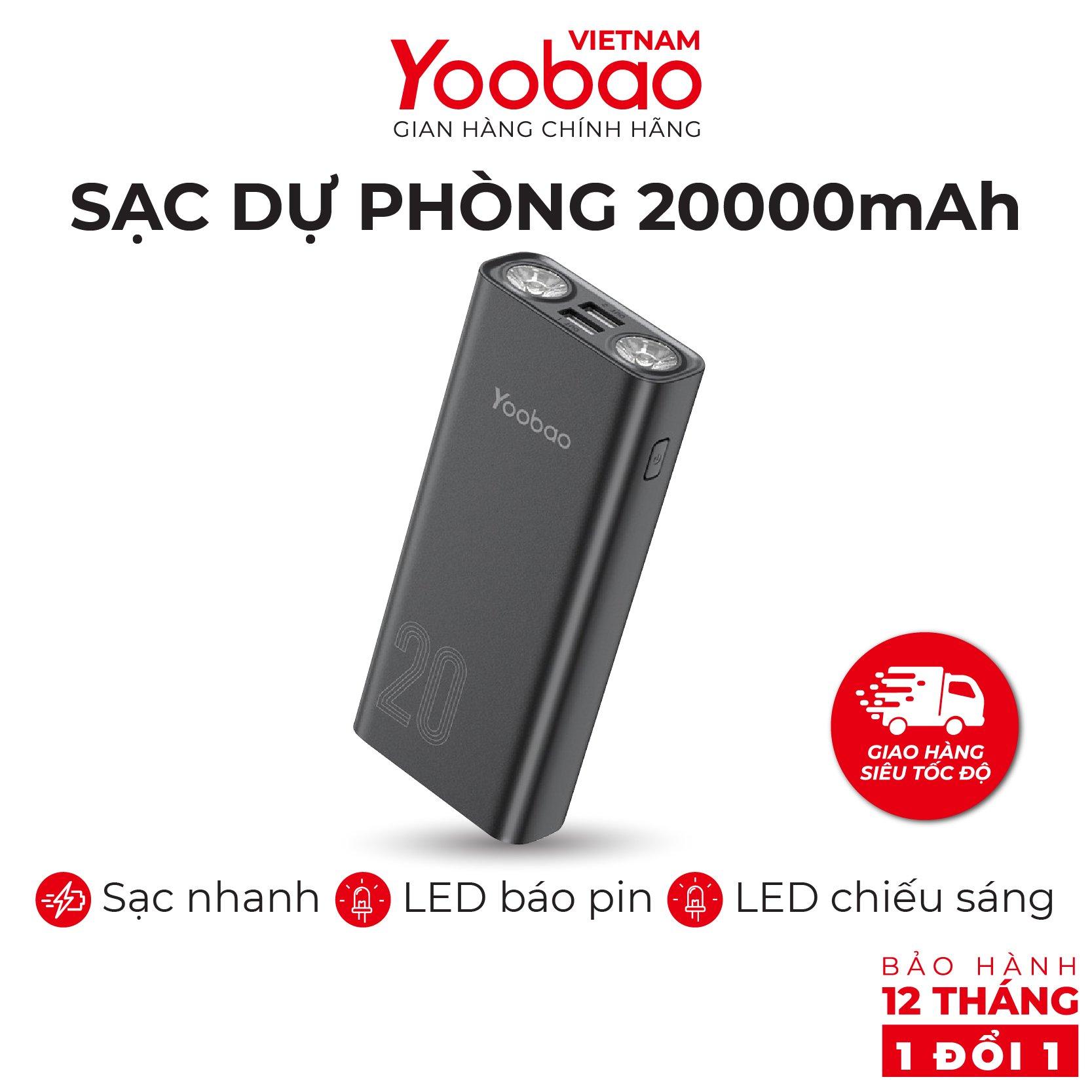 Pin sạc dự phòng Yoobao L20 20000mAh tích hợp 2 đèn LED siêu sáng - Hàng phân phối chính hãng - Bảo hành 12 tháng 1 đổi 1